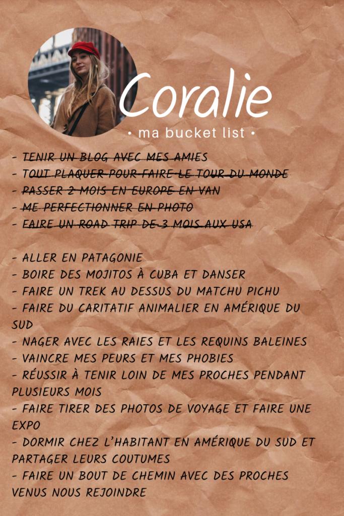 Bucket list de Coralie
