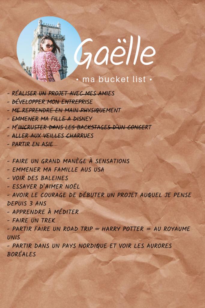 Bucket list de Gaëlle