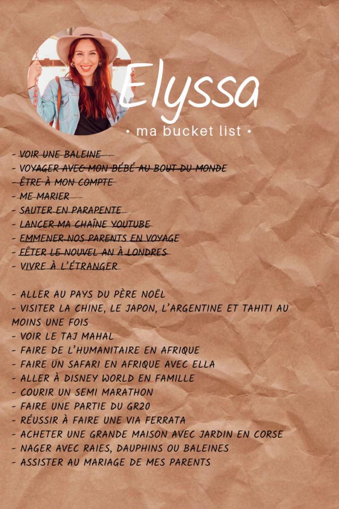 Bucket list de Elyssa